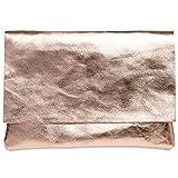 Caspar TL770 große Damen Metallic Envelope Leder Clutch Tasche Abendtasche, Größe:One Size,...
