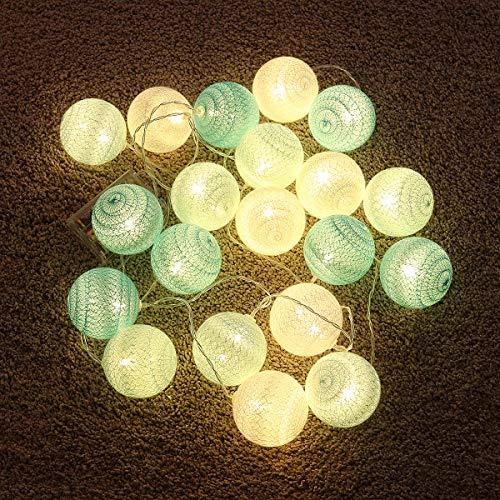 OSALADI - Cadena de luces LED de hilo de algodón para decoración de bodas, fiestas, dormitorios, cumpleaños (3 m, 20 ledes, verde menta)