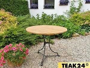 Longlife Teak Gartentisch, rund 90 cm, Eisengestell, H0603