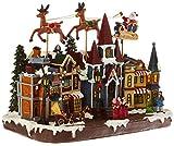 Home Village 5mai495mc grande villaggio Babbo Natale volante vivace/musicale con 17lampadine LED resina/Poly resina multicolore