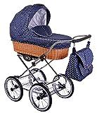 Classico Retro - Ein Luxus, Nostalgie Kinderwagen - Kombikinderwagen mit Weidenkorb, Komplettset de luxe 3 in 1: Kinderwagen + Sportwagenaufsatz + Autositzadapter für Maxi Cosi