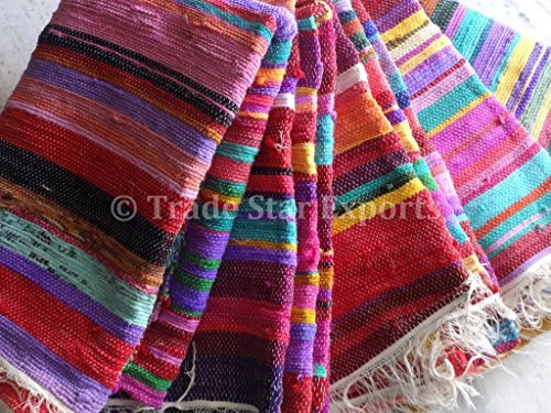 Trade Star Handmade Rag Rug, Carpet Runner, Large Chindi Area Rugs 4x6, Indian Dhurrie, Floor Mat by Tradestar (Rag Rug)