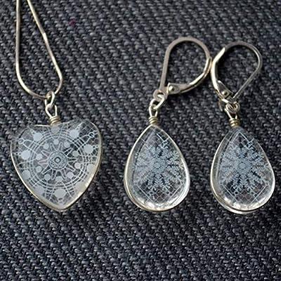 Neige Blanc Dentelle Fleur Mariage Cœur Amour Argent Sterling 925 Ensembles de bijoux Colliers Boucles d'oreilles