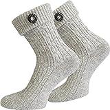 normani Leinen Socken Kniebundstrumpf Trachtensocken Farbe Silbermelange mit Knopf Größe 43/46