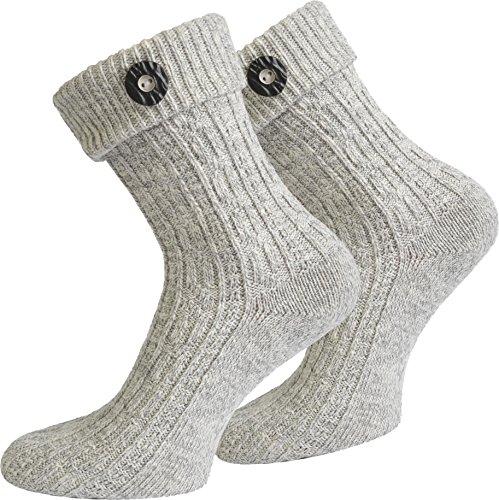 Socken kurz oder Lang für Trachten Lederhose Farben frei wählbar! Farbe Silbermelange mit Trachten-Knopf Größe 43/46