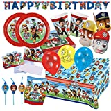 76-teiliges Party-Set Paw Patrol - Teller Becher Servietten Tischdecke Tüten Einladungen Girlande Trinkhalme Luftballons Masken