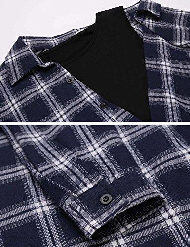 Chigant Damen Casual Langarmshirt Karierte Bluse Patchwork Crop Top Hemd Einteiler Vokuhila Shirt Oberteil mit One Cold Shoulder Blau