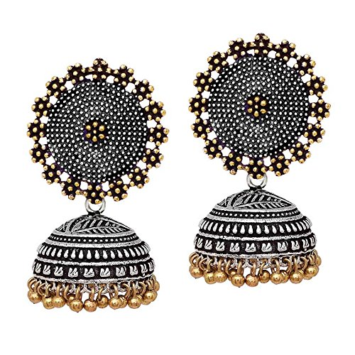 V L IMPEX Black Metal Oxidised Two Tone Plated Jhumka Jhumki Earrings For Women & Girls