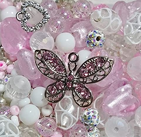 Berties Beads Quality Pink Butterfly Mix contains lampwork beads in plastic pouch with elastic weighing approx 100g