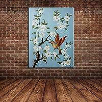 IPLST@ Moderna di paesaggio uccelli pittura fiori olio su tela, dipinta a mano su tela per la camera da letto, sala da pranzo Decoration-24x36inch(Nessuna cornice, senza barella)
