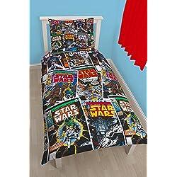 Star Wars Juego de Cama Individual, diseño Reversible y alusivo a la Saga de películas de la Guerra de Las Galaxias, de la Marca
