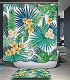 S.D.Maket Schönes leben* spezielle Design 3D Badewannenvorhang Duschvorhänge Duschvorhang mit 12 Duschvorhangringe anti schimmel wasserdicht 180*200cm (Bananenblätter)