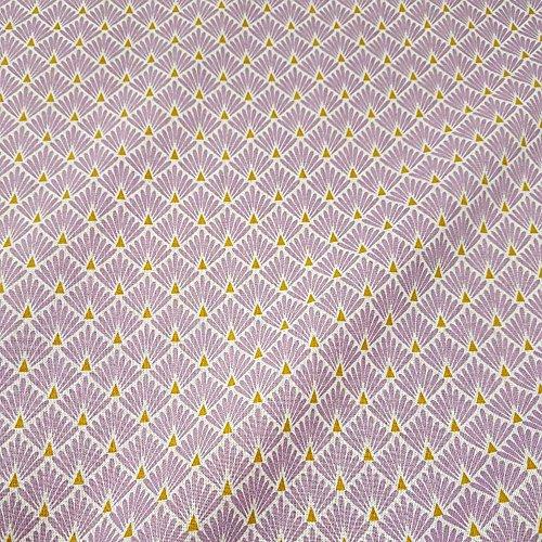 Werthers Stoffe Tela Tela de algodón Metro Japón Compartimiento de Entramado Lila Lavanda latón Kimono Mode Trend