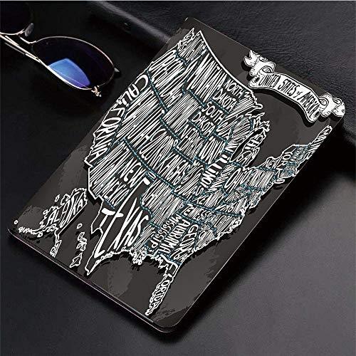 Yaoni Hülle für iPad (9,7 Zoll, Modell 2018/2017, 6. / 5. Generation),USA Karte, amerikanische Städte Kalligraphie Sti,Ultra Slim Cover Schutzhülle PU Lederhülle/mit Auto Sleep Wake Up Funktion - Stadt Amerikanischen