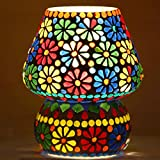 #10: Mosaic Style Mushroom Shaped Table Lamp by Derien/Antique Night Lamp for Bedside and Living Room/Perfect Multicolor Home Decoration Item (Size: 16 X 16 X 18 cm) DE077