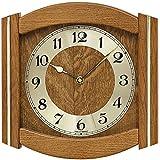 AMS rustikale Wand Uhr mit Holz Wanduhr Funk Mineralglas Eiche massiv