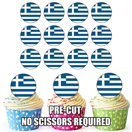 Essbare Cupcake-Dekorationen mit griechischer Flagge, 24 Stück