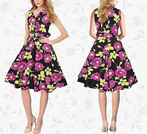 Feoya - Femme Robe Longue Sans Manche V col été Vintage 50s Années Cérémonie Soirée Party de Cocktail Style - Rose Modèle - Violet/Rose/Bleu - Taille M/L/XL/XXL Rose