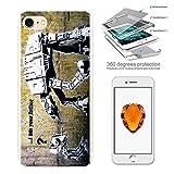 000548 - Banksy Graffiti Art Star War Robot Design iphone 6 6S 4.7 Komplett 360° Grad Vollschutz Schild Hülle Front&Ba