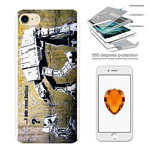 """Image of 000548 - Banksy Graffiti Art Star War Robot Design iphone 6 Plus/iphone 6S Plus 5.5"""" Complete 360° Degrees Hard Plastic Protection Case Cover Front&Back Case+Tempered Glass Screen"""