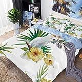 Juego de sábanas de cama Juego de funda nórdica de 3 piezas Juego de cama, hibisco con pájaro Mimic inteligente Animales Criaturas de regiones salvajes Obra de arte, hipoalergénico, transpirable fresc