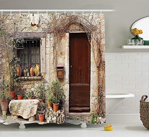 GAOFENFFR Fensterläden Dekor Sammlung Blumentopf Pflanzen im Vorgarten Französisch Hilltop Village Saint-Paul De Vence ErbeBad Duschvorhang