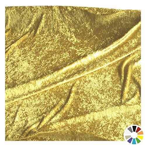 TOLKO Dekostoff - Pannesamt Meterware mit Stretch zum Nähen, Basteln und Dekorieren (Gold-Beige) (Billig Gold Tischdecken)