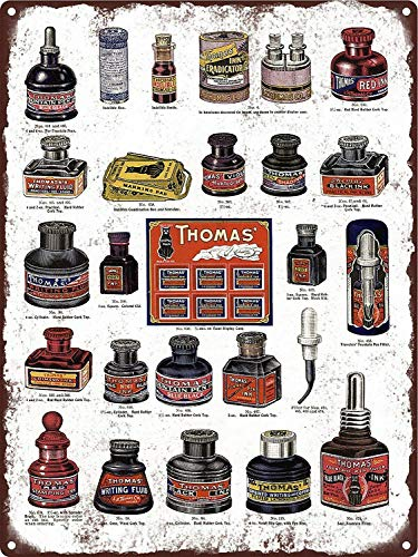 JIA KOAH 1908 Thomas' Ink Bottles Black Wrig Fluid Black Cat Blechschild Metall dekorative Wand Poster Souvenir