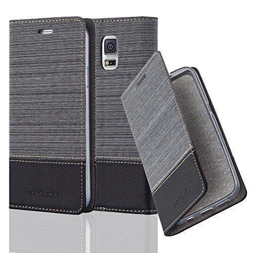 Cadorabo Hülle für Samsung Galaxy S5 / S5 NEO - Hülle in GRAU SCHWARZ - Handyhülle mit Standfunktion und Kartenfach im Stoff Design - Case Cover Schutzhülle Etui Tasche Book
