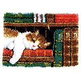 Vervaco Knüpfteppich Katze im Bücherregal, Stramin, Weiß, 53 x 39 x 0,3 cm