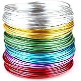 Creacraft 30 mètres fil aluminium: 6 bobines de 5m pour perlage et bijoux (différentes couleurs) (2 mm)