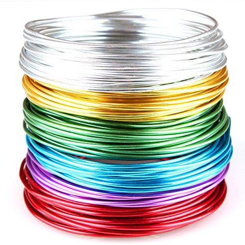 Creacraft Aluminium Schmuckdraht-Set Basic 6 Farben, 30m x (5m je Farbe) (2 mm)