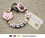 Baby Greifling Beißring geschlossen mit Namen | individuelles Holz Lernspielzeug als Geschenk zur Geburt & Taufe | Mädchen Motiv Fuchs in rosa