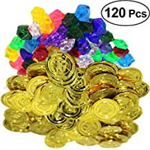 YeahiBaby Monedas de oro piratas de 20 piezas y 100 piezas Joyas de gemas piratas Juego
