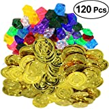 #7: TOYMYTOY 20 Pieces Pirate Gold Coins and 100 Pieces Pirate Gems Jewelry Fake Play Treasure Coins Set Party Favor