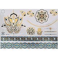 ღ Yh116 Flash Tattoo tatuaje temporal pegatinas etiquetas pulseras de oro joyas de oro etiqueta engomada de la hoja de Metal-metálico del cuerpo