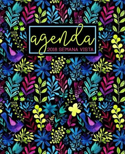 Agenda: 2018 Agenda semana vista español : 190 x 235 mm, 160 g/m² : Estampado floral arcoíris en acuarela (Calendarios, agendas y organizadores personales, Band 9)