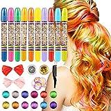 RenFox Colore Capelli Temporaneo, Capelli Pastelli 10pcs Gesso di Colore di Capelli Hair Chalk per Tutti i Tipi di Capelli di Bambini o Adolescents,Carnaval, Festa
