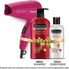 TRESemme Keratin Smooth Shampoo 580ml & Conditioner 220ml Combo Pack + Philips Hair Dryer