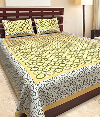 JAIPURI Designer Printed 100% Cotton Rajasthani Traditional Print King Size Double Bedsheet With Zipped 2 Pillow Cover(MultiColor…..)