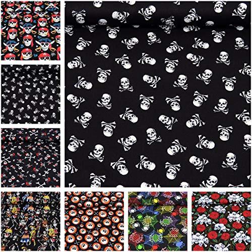 MAGAM-Stoffe Baumwoll-Stoff Popeline ''Jack'' 100% Baumwolle Halloween Piraten Skulls - Meterware ab 50cm - MX-5-1 (01. Totenköpfe klein)