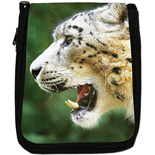 Snow Leopard Wild Cat Medium Nero Tela Borsa a tracolla, taglia M Snow Leopard With Sharp Teeth