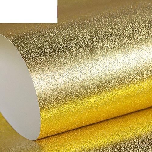 foglia-doro-pianura-solida-carta-da-parati-golden-disegno-tappezzeria-ktvhotel-decorazione-soggiorno