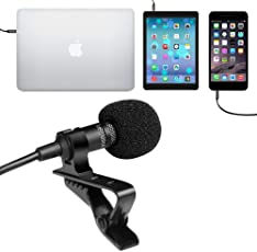 Juarez JRZ900 Professional Premium Deluxe Lavalier Lapel Clip-on Omnidirectional Condenser Microphone For All Smartphone, Black