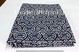 handicraftofpinkcity 5Meter indischen Stoff Indigo Blue