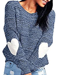 Bluester Women Loose Heart Shape Long Sleeve Cardigan Knitted Sweater Jumper, Ladies Knitwear Outwear