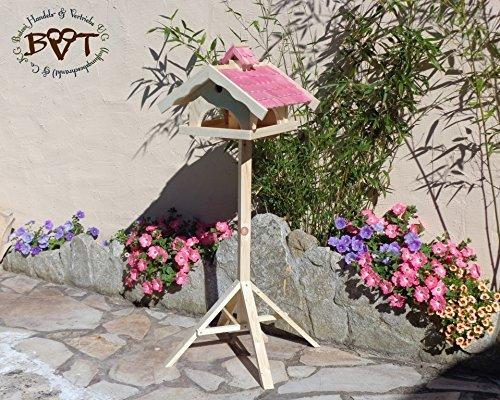 Vogelhaus,groß,mit Nistkasten,BEL-X-VONI5-pink002 Großes wetterfestes PREMIUM Vogelhaus VOGELFUTTERHAUS + Nistkasten 100% KOMBI MIT NISTHILFE für Vögel WETTERFEST, QUALITÄTS-SCHREINERARBEIT-aus 100% Vollholz, Holz Futterhaus für Vögel, MIT FUTTERSCHACHT Futtervorrat, Vogelfutter-Station Farbe pink rosa rosarot süß, MIT TIEFEM WETTERSCHUTZ-DACH für trockenes Futter - 3