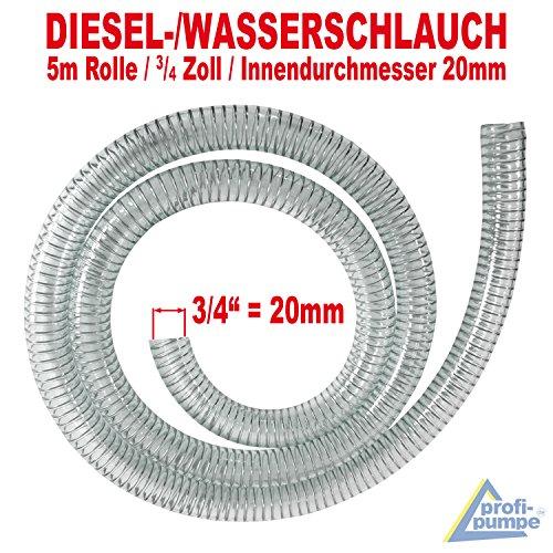 AMUR Dieselschlauch, Benzinschlauch für Ölpumpe, Ölschlauch, Spiralschlauch Saug-/Druckschlauch für Diesel Pumpe Heizöl Pumpe Wasserpumpe (Spiralschlauch 3/4 Zoll - 5m)