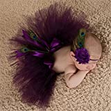 Generic Pink : 2016 Newborn photography props baby girls purple peacok feather skirt photo props tutu sets+flower headband baby photo shoot