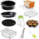 Szaerfa Accessoires de friteuse à air antiadhésif 9 pièces, moule à gâteau 6/7/8 pouces/plateau à pizza/grille à pain grillé/